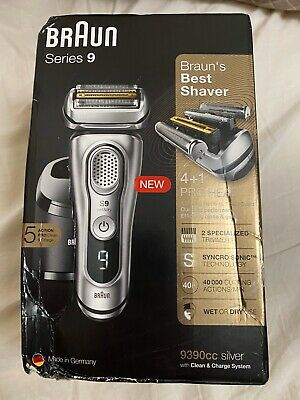 Braun Series 9 9390cc Men's Electric Foil Shaver Wet and Dry - Silver
