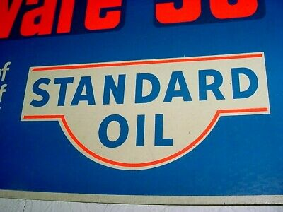 GRAPHIC * RARE NEAR MINT 50s Vintage STANDARD CHEVRON Old Gas Station 48x12 Sign