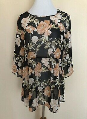 Forever 21 Size Small Sheer Black Orange Floral Baby Doll Blouse Top 3/4 Sleeve