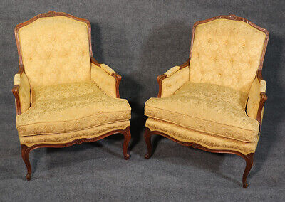 Beautiful Pair Carved Walnut French Louis XV Bergere Lounge Chairs C1950s
