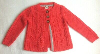 Girl's Mini Boden Cable Knit Sweater Sz 6-7 Years Orange Cardigan Thick Top