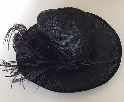 Ladies Black Sinamay Hat With Ostrich Feather Weddings Races Christenings