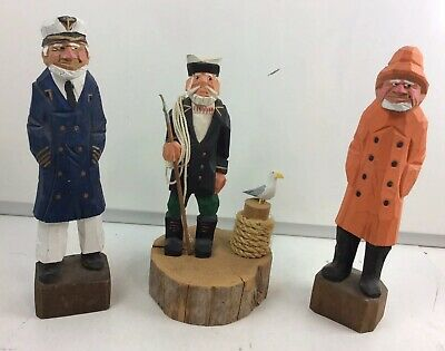 "Set Of 3 Wood Hand Carved Sailor Crew Sea Captain Fisherman Figurines 12"" Tall"