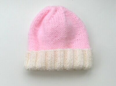 New Hand Knit Hat for a Newborn Baby in Pink & Cream