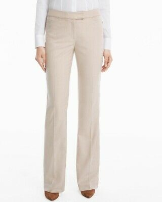 White House Black Market Vita Suiting Slim Flare Pants Cream Colored Slacks Sz 8