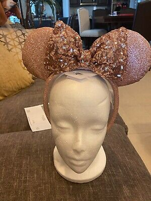 NEW Disney Parks Minnie Mouse Briar Rose Gold Ear Headband Sequin Bow new w/tag