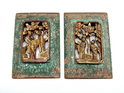 Pair Small Antique Chinese Wood Hand Carved Gilded Panels