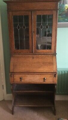 Arts and Crafts Bureau / bookcase /display cabinet solid Oak, Leaded windows