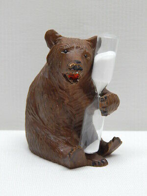 Great Antique German Black Forest Wood Hand Carved Bear Hourglass / RARE