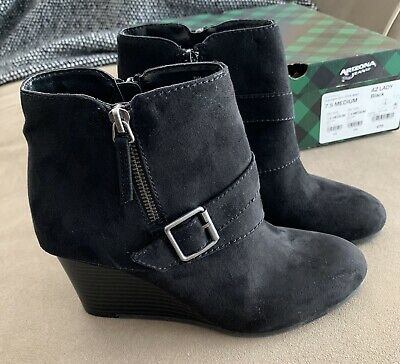 Arizona Jeans Black Wedge Heel Boot W/ Accents Size: 7.5