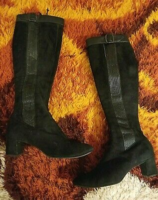 1960s 1970s Vintage Black Suede GoGo Boots With Buckle