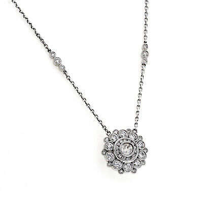 18K White Gold 1.14 CT Diamonds Flower Necklace Size 17""