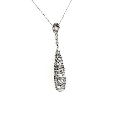 18K White Gold 0.75 CT Diamonds Spiral Drop Necklace Size 18""