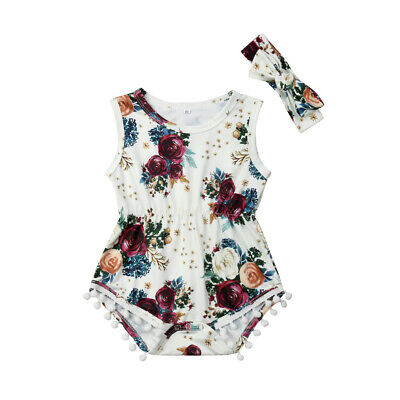 Newborn Toddler Baby Girls Floral Tassels Romper Jumpsuit Outfit Summer Clothes