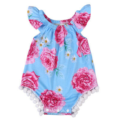 UK Summer Newborn Baby Ruffle Romper Jumpsuit Girls Floral baby girl clothes