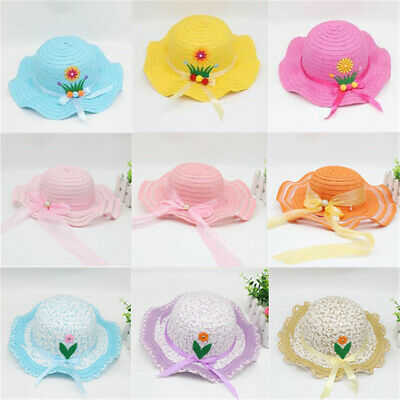 Baby Children Kids Girl Summer Floral Flower Straw Cap Visor Sun Hat Beach Hats