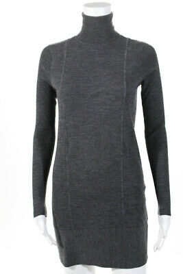 Magaschoni Womens Turtleneck Long Sleeve Sweater Dress Gray Size Extra Small