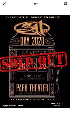 2 Tickets To All 3 Nights Of 311 Day 2020 In Las Vegas