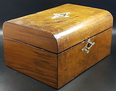Pretty Antique Jewellery Box For Restoration, Dome Top & Mother Of Pearl Inlay