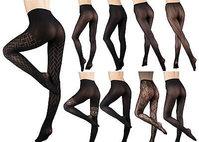 ULTIMATES LACEY LACE SEAMLESS LADDERPROOF TIGHTS BY COUTURE 4 SIZES INC EX LARGE