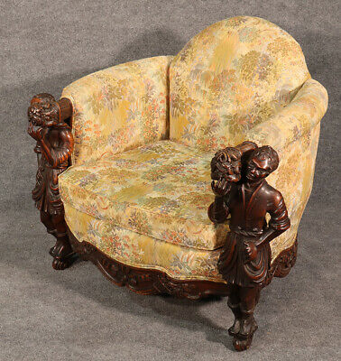 Rare Execptional Large Carved Walnut Nubian Blackamoor Club Chair C1890s