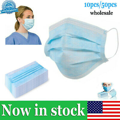 10-50x lot Disposable Face Mask Surgical Medical Dental Industrial 3Ply Ear Loop