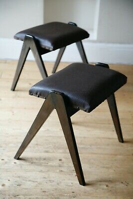 A Pair of Vintage Retro 1950s Scissor Stacking Stools Chairs
