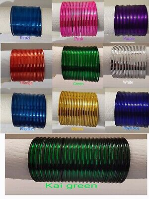 New Indian Bollywood 12 Piece Plain Bangle Set Multiple Colours