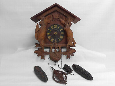 Vtg American Cuckoo Clock Philadelphia No. 105 Carved Hanging Game Black Forest
