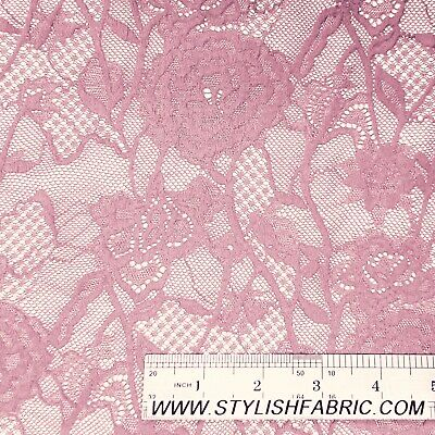 """8 Colors 60/""""  Floral Scalloped Embroidered Stretch Lace Fabric by the Yard"""