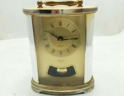 Small Brass Oval Dome Fronted Pendulum Style Metamec Carriage Clock Faulty