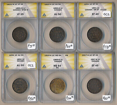 SIX(6) ANACS GRADED CANADA LARGE CENTS (1859/8 to 1907-H) CV $600+ > NO RESERVE