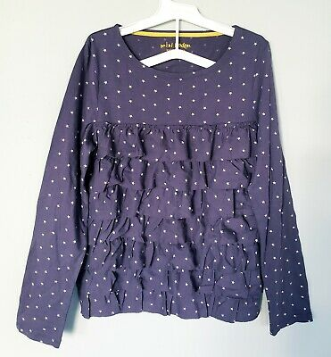 Mini Boden Girls Top Shirt 11-12Y Cotton Purple Ruffle Tiered Stars Long Sleeve