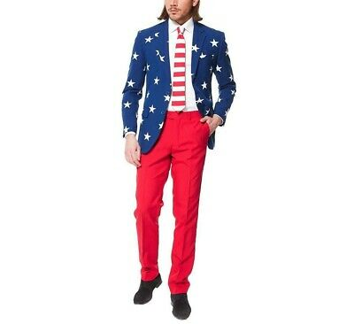 NWT 3 pc Men's Stars & Stripes Patriotic Oppo Holiday Suit Blazer, Red Pants Tie