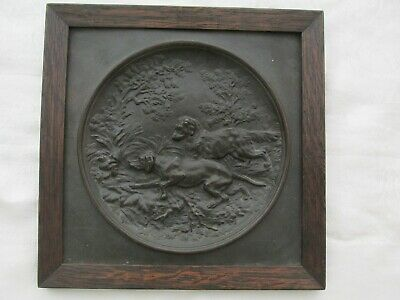 Antique Framed Bronze Plaque Setters or Hunting Dogs