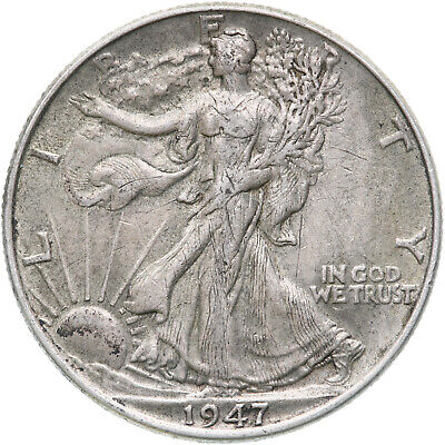 1947 Walking Liberty Half Dollar 90% Silver XF Obverse Scratches See Photos C887