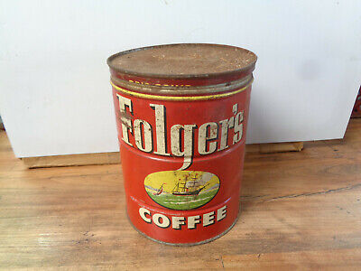VINTAGE 1952 Folger's COFFEE CAN 2 LBS CLIPPER SHIPS w/LID ADVERTISING (sa)