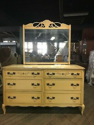 Rway French Painted Distressed Dresser and Mirror