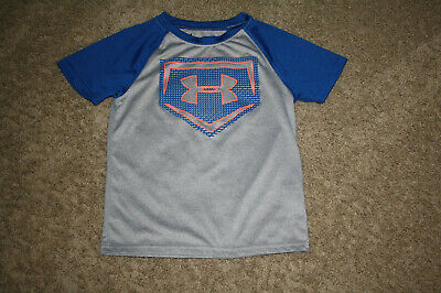 Under Armour Heat Gear Boys Ss Tee Royal Blue Sleeves W/Gray Body - Size 6