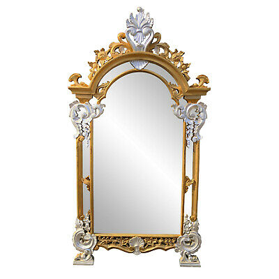 Vintage French Rococo Victorian Gold & Silver Painted Wall Mirror 3×5
