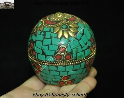 Old Tibet Tibetan Nation Bronze inlay Turquoise coral Jewelry Box Rouge boxes