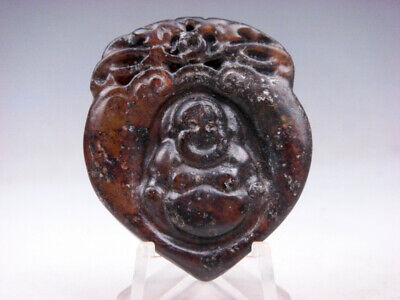 Old Nephrite Jade Hand Carved *Laughing Buddha* Heart Shaped Pendant #12171802