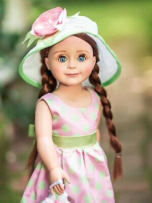 18 In Doll Clothes Outfit Pink & Green Dress, Hat, Hand Bag Fits American Girl,
