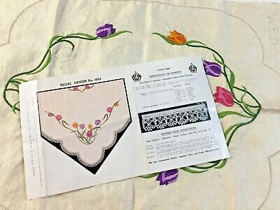 Vintage REGAL Stamped Linen To Embroider a Traycloth     ❤️TULIP TIME❤️