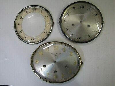 3 x Old Clock Bezel & Glass Units with Dials