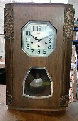 Antique FRENCH 'GIROD' ART DECO Hand Made WALL CLOCK With glass Front