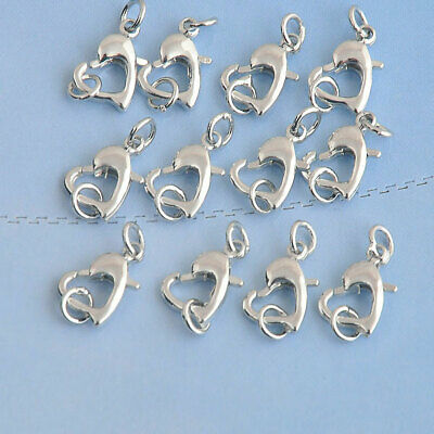 925 Sterling Silver Repair Connector Heart Lobster Claw Clasps 11X11MM necklace