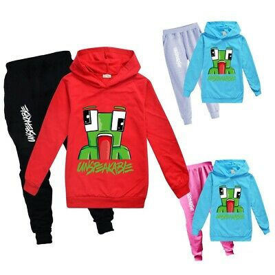Kids Boys Girls UNSPEAKABLE Casual Outfits Trouser Suit Hoodie Top+Pants sets UK
