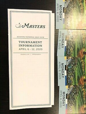 (4) 2020 Masters Golf Practice Round Tickets, Monday April 6, Four, 4/6 Full Day