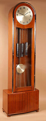 An Art Deco Modernist Junghans Teak/Amaranth And Chrome Very Stylish Westminster